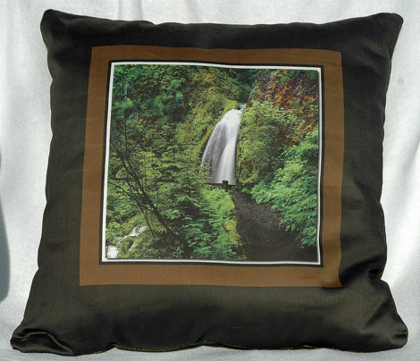 Six 14 inch Photographic Waterfall Pillow Cover Designs per  Yard