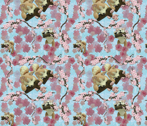 Sakura repeat (blue) fabric by hakuai on Spoonflower - custom fabric
