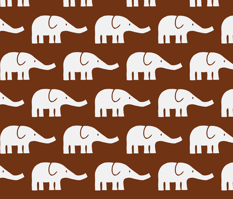 LARGE Elephants in brown fabric by katharinahirsch on Spoonflower - custom fabric