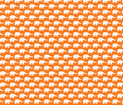 SMALL Elephants in orange fabric by katharinahirsch on Spoonflower - custom fabric