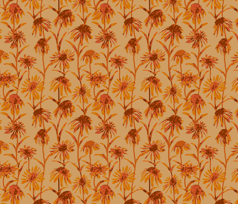 Orange  Flowers fabric by coloroncloth on Spoonflower - custom fabric