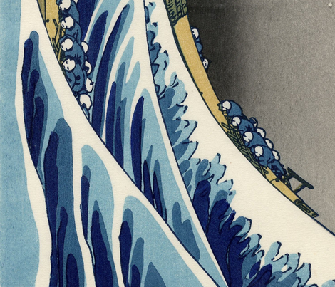 Great Wave off Kanagawa 42h 61w repeats fabric by buckskin_fringe on Spoonflower - custom fabric