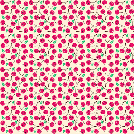 Happy Cherries (white) fabric by irrimiri on Spoonflower - custom fabric