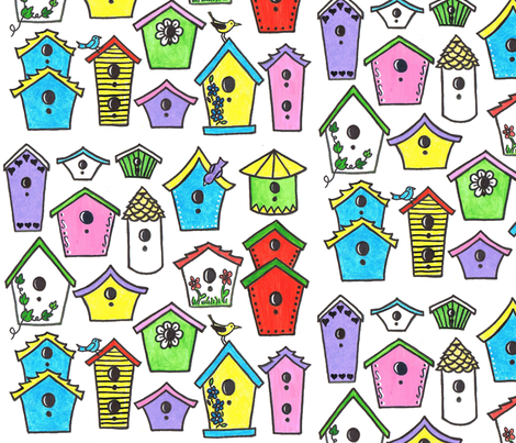 Bird House Fun fabric by joycemj on Spoonflower - custom fabric