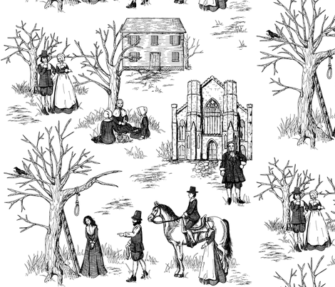 Salem Witch Trials Toile fabric by jillianmorris on Spoonflower - custom fabric