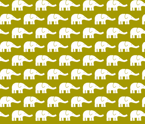 MEDIUM Elephants in green-ch fabric by katharinahirsch on Spoonflower - custom fabric