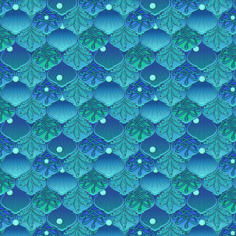 Mermaid Wedding Scales - Peacock 1 inch approx fabric by glimmericks on Spoonflower - custom fabric