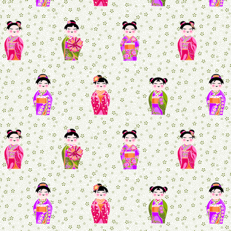 kokeshiFieldWide fabric by thelazygiraffe on Spoonflower - custom fabric