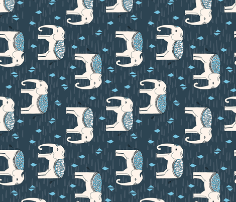 Elephants - Parisian Blue by Andrea Lauren fabric by andrea_lauren on Spoonflower - custom fabric