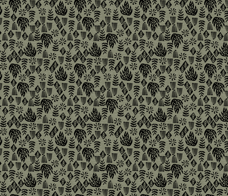 Safari Plants - Olive (Custom size) by Andrea Lauren fabric by andrea_lauren on Spoonflower - custom fabric