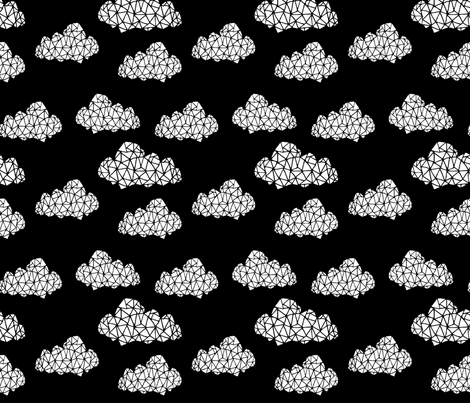 Geometric Cloud - Black & White by Andrea Lauren fabric by andrea_lauren on Spoonflower - custom fabric