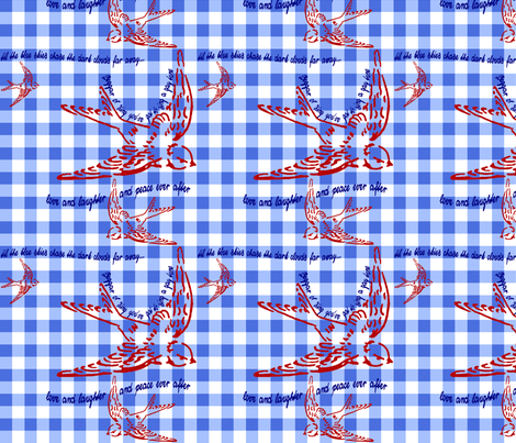 Gingham Singing Swallow by Kitten von Mew fabric by kitten_von_mew on Spoonflower - custom fabric