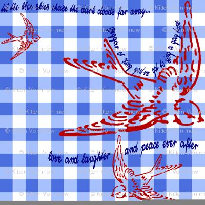 Gingham Singing Swallow by Kitten von Mew