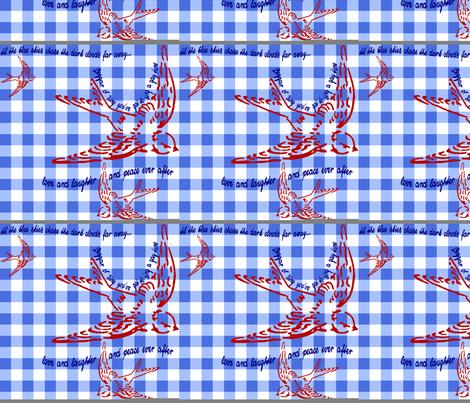 Gingham Singing Swallow by Kitten von Mew fabric by kitten_von_mew on Spoonflower - custom fabric
