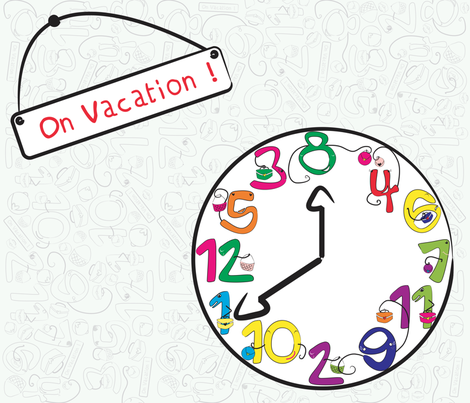 Time's on Vacation! (centered) fabric by majobv on Spoonflower - custom fabric