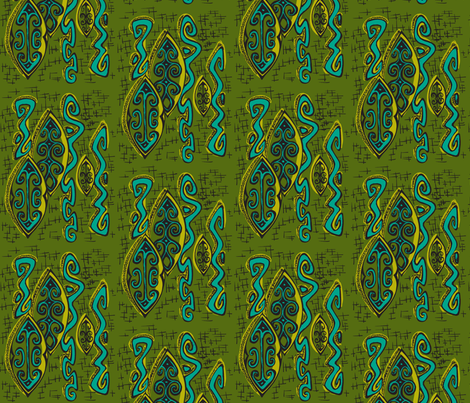 Abstractiva, Popua, olive fabric by sophista-tiki_by_dawn_frasier on Spoonflower - custom fabric