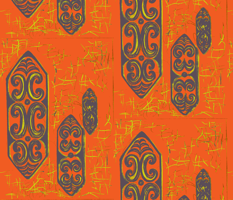 NuGu No Ku  Orange fabric by sophista-tiki on Spoonflower - custom fabric