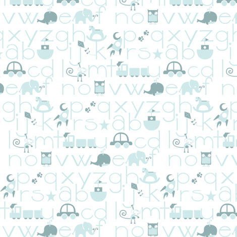 ABC Baby - Blue fabric by ttoz on Spoonflower - custom fabric