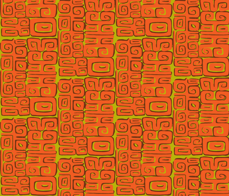 Abstactiva, Matuku, orange fabric by sophista-tiki on Spoonflower - custom fabric