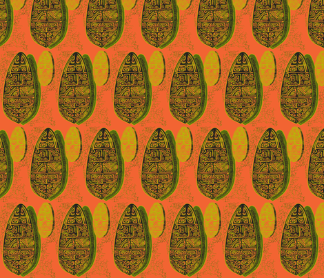The Polynesian With in Orange fabric by sophista-tiki on Spoonflower - custom fabric