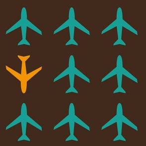 Plane turquoise and orange