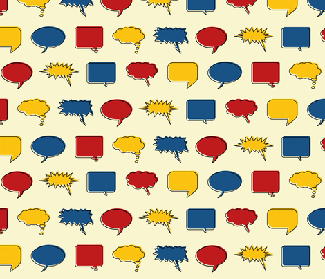 Comic Speech Bubbles (Hero colorway) fabric by leighr on Spoonflower - custom fabric