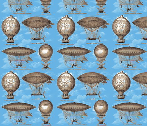 Dirigibles (Blue) fabric by derigible on Spoonflower - custom fabric