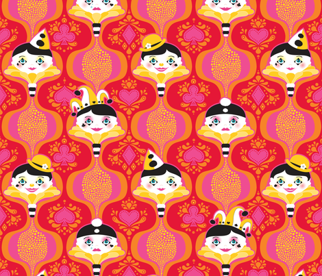 Clowning Around in Red fabric by zesti on Spoonflower - custom fabric