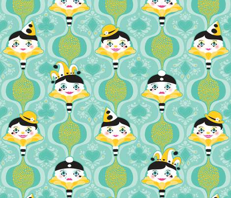 Clowning Around in Blue fabric by zesti on Spoonflower - custom fabric