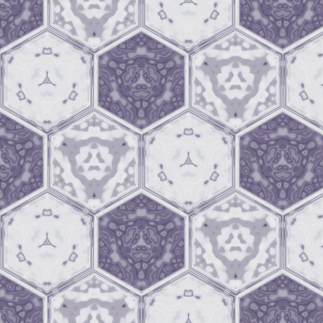 Hexagonal Tile Geometric in crocus purple, small fabric by gingezel on Spoonflower - custom fabric
