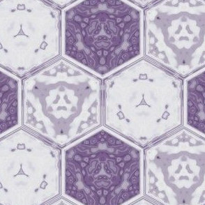 Hexagonal Tile Geometric in crocus purple, small