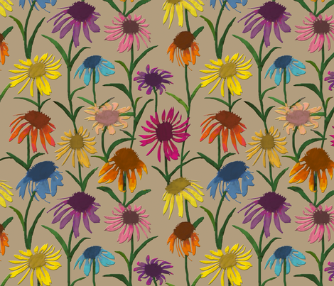 Echinaceas fabric by coloroncloth on Spoonflower - custom fabric