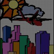 Jet Over City
