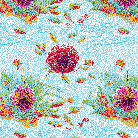 _Dahlias_Pointillism_E  fabric by khowardquilts on Spoonflower - custom fabric
