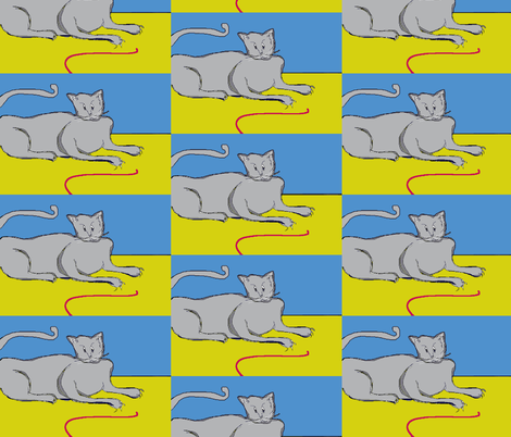 Playful Cat? - blue fabric by susaninparis on Spoonflower - custom fabric