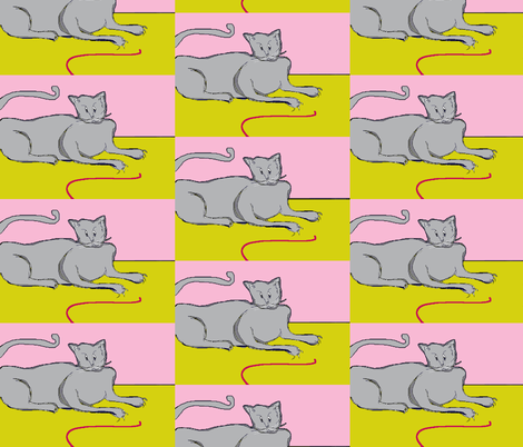 Playful Cat?- pink fabric by susaninparis on Spoonflower - custom fabric