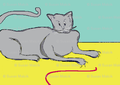 Playful Cat? - mint and yellow
