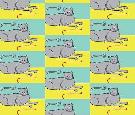Playful Cat? - mint and yellow fabric by susaninparis on Spoonflower - custom fabric