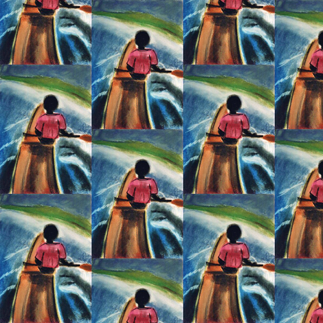 Pirogue going up the Gambia River, pastel version  fabric by susaninparis on Spoonflower - custom fabric