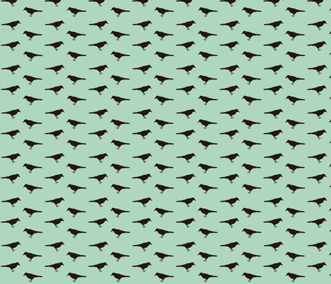 tiny_crows_on_blue fabric by featheredneststudio on Spoonflower - custom fabric