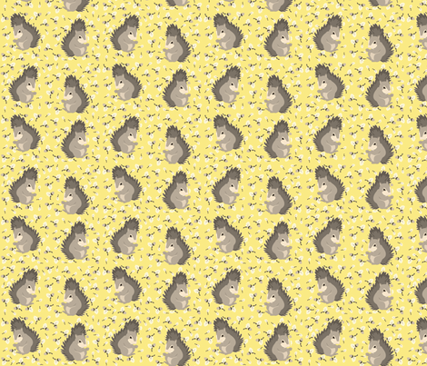 yellow_acorns_with_grey_squirrels fabric by featheredneststudio on Spoonflower - custom fabric
