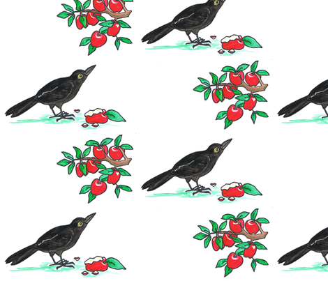 Crow_and_Apples fabric by joycemj on Spoonflower - custom fabric