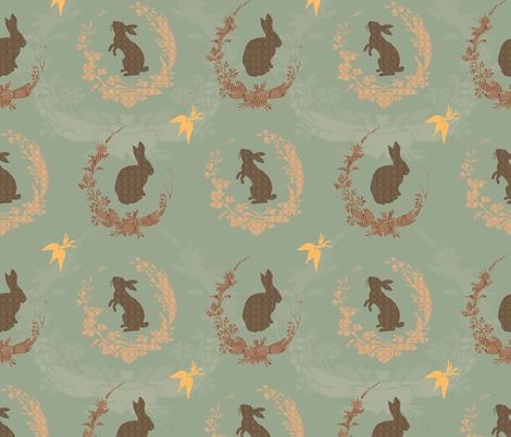 Jade Moon Rabbit - duck egg blue fabric by bee&lotus on Spoonflower - custom fabric