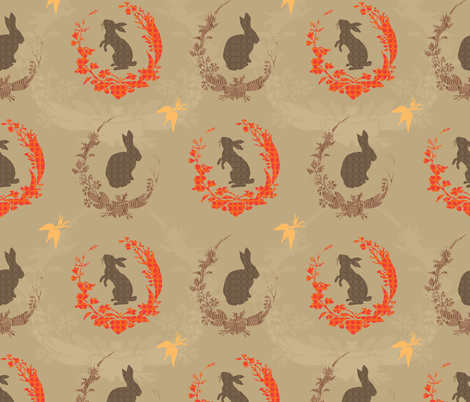 Jade Moon Rabbit - autumn eve fabric by bee&lotus on Spoonflower - custom fabric