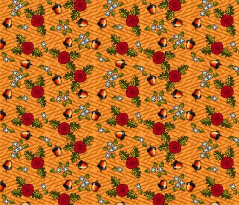 ©2011 Acorns and Flowers fabric by glimmericks on Spoonflower - custom fabric