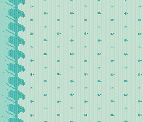 Rainy days & dots border print- seafoam fabric by modgeek on Spoonflower - custom fabric