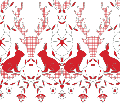 scando_rabbits_plaid fabric by holli_zollinger on Spoonflower - custom fabric