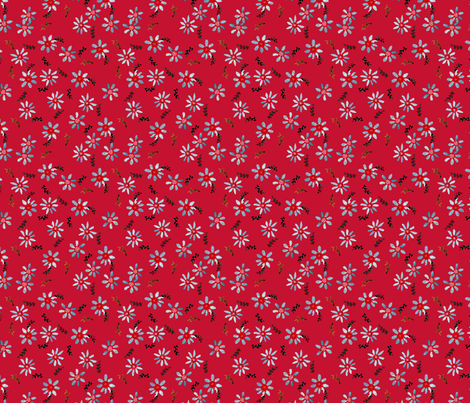 marguerittte_fond_rouge fabric by nadja_petremand on Spoonflower - custom fabric