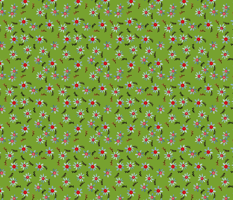 marguerittte_fond_vert fabric by nadja_petremand on Spoonflower - custom fabric
