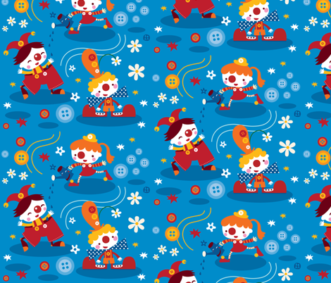 Clowns&buttons! fabric by bora on Spoonflower - custom fabric
